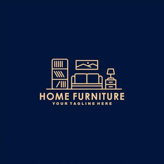 Modelo de logotipo de contorno de móveis para casa Vetor Premium