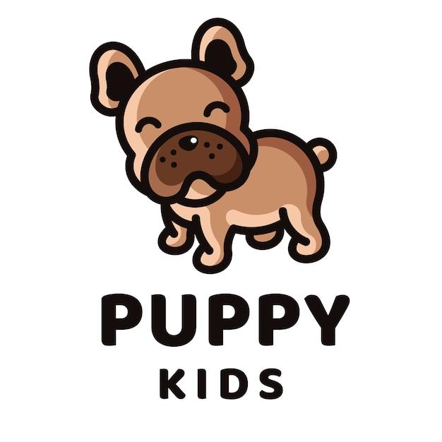 Modelo de logotipo de crianças filhote de cachorro Vetor Premium