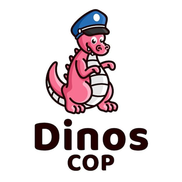 Modelo de logotipo de crianças fofas polícia dinossauros Vetor Premium