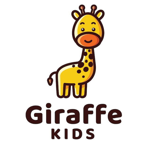 Modelo de logotipo de crianças girafa Vetor Premium