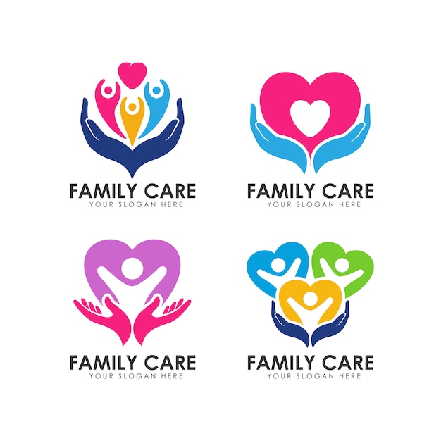 Modelo de logotipo de cuidados familiares Vetor Premium