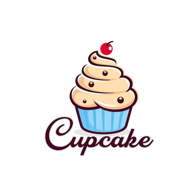 Modelo de logotipo de cupcake Vetor Premium