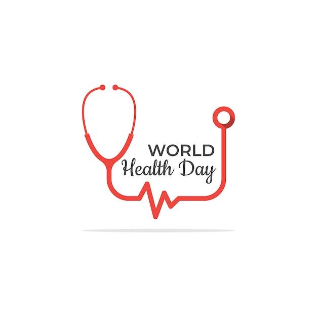 Modelo de logotipo de dia de saúde simples com estetoscópio Vetor Premium