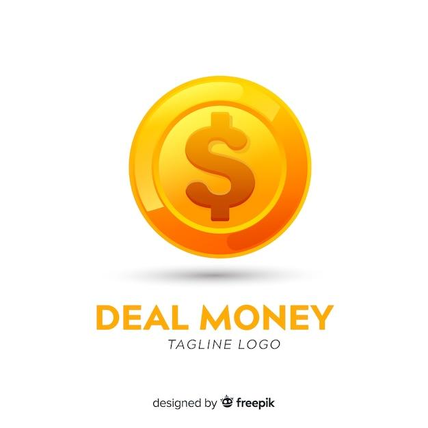 Modelo de logotipo de dinheiro com moedas Vetor grátis