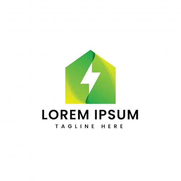 Modelo de logotipo de energia em casa Vetor Premium