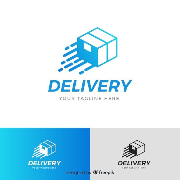 Modelo de logotipo de entrega com caixa Vetor grátis