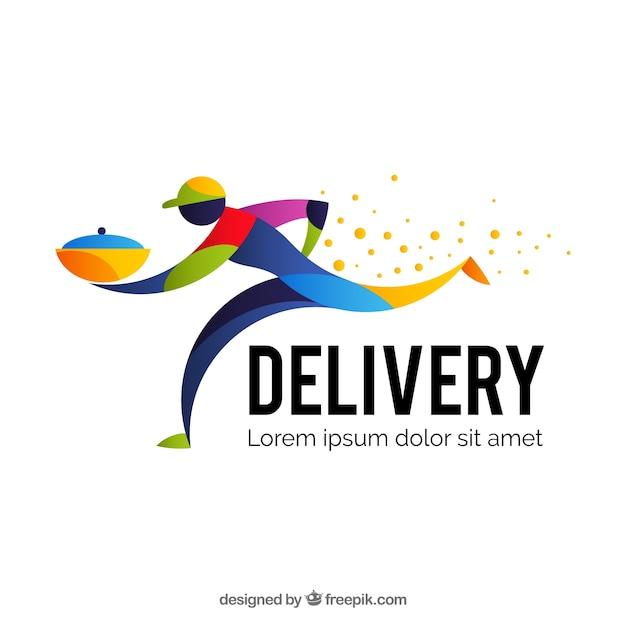 Modelo de logotipo de entrega com homem colorido Vetor grátis