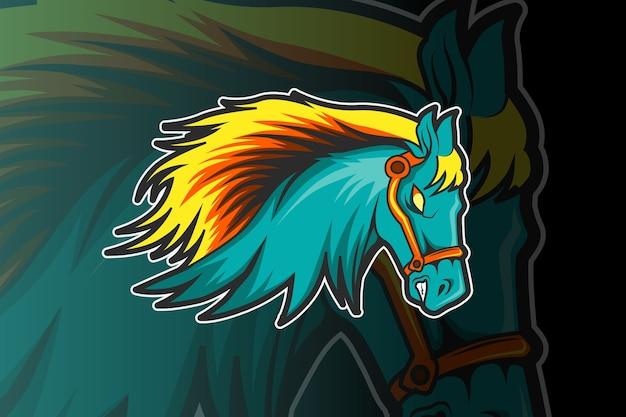 Modelo de logotipo de equipe de e-sports com cavalo Vetor Premium