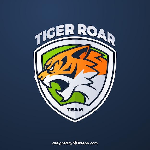 Modelo de logotipo de equipe de esportes-e com tigre Vetor grátis