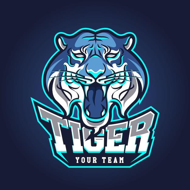 Modelo de logotipo de equipe de esportes eletrônicos com tigre Vetor Premium