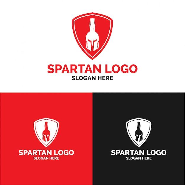 Modelo de logotipo de escudo espartano Vetor Premium