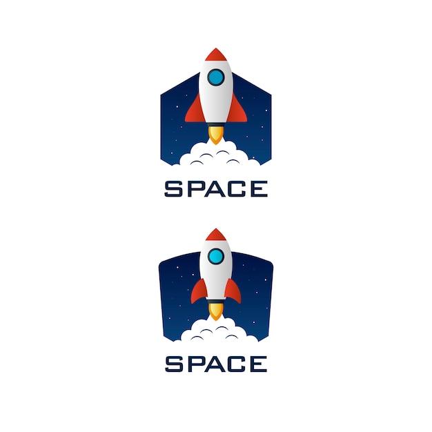 Modelo de logotipo de espaço de foguete Vetor Premium