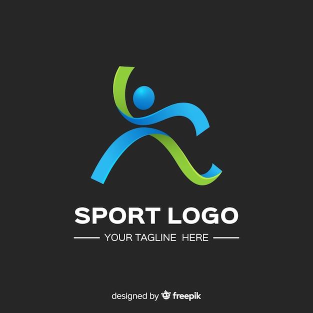 Modelo de logotipo de esporte moderno com design abstrato Vetor grátis