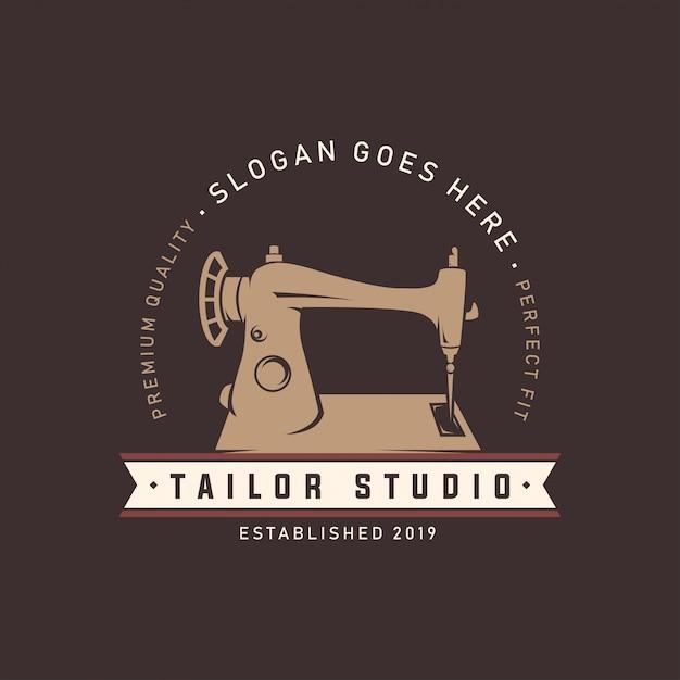 Modelo de logotipo de estúdio de alfaiate de máquina de costura Vetor Premium