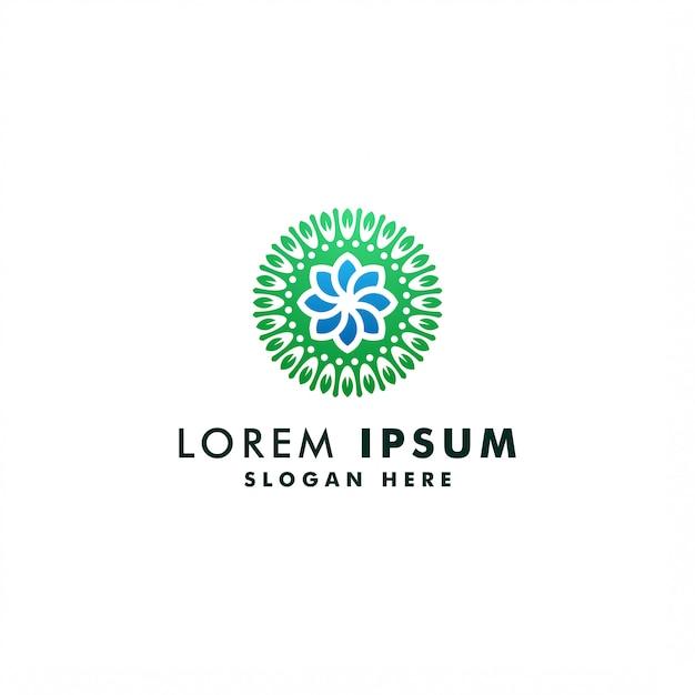 Modelo de logotipo de flor abstrata, design de luxo de florista de símbolo de ambiente, logotipo de ícone de jardim Vetor Premium