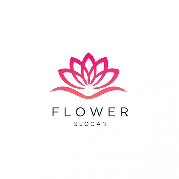Modelo de logotipo de flor de lótus de luxo feminino Vetor Premium