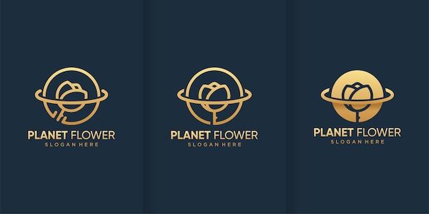 Modelo de logotipo de flor do planeta com estilo dourado Vetor Premium