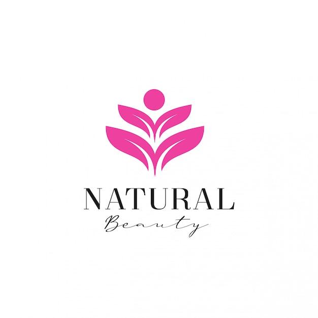 Modelo de logotipo de flor humana de beleza feminina Vetor Premium