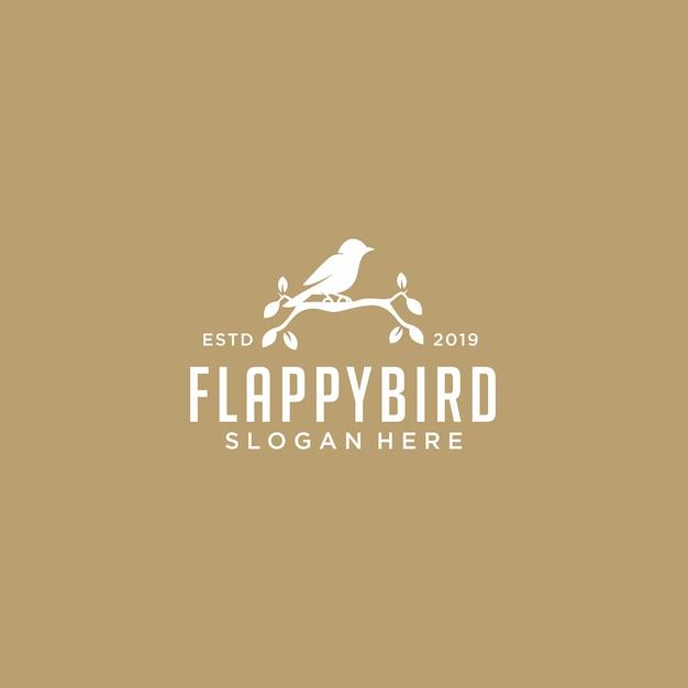 Modelo de logotipo de folha de pássaro Vetor Premium