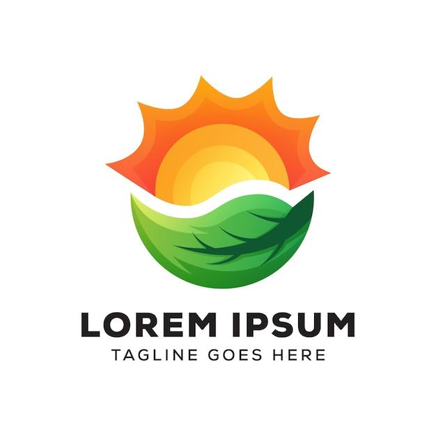 Modelo de logotipo de folha de sol Vetor Premium