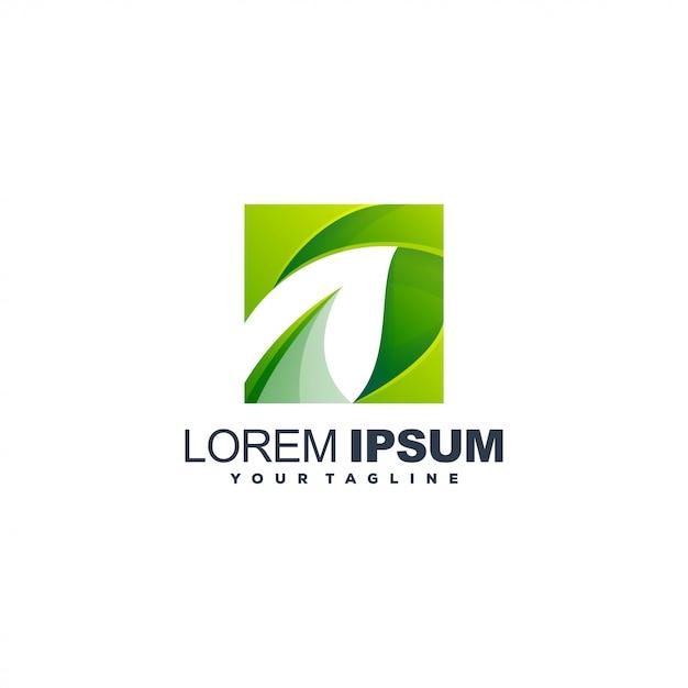 Modelo de logotipo de folha gradiente Vetor Premium