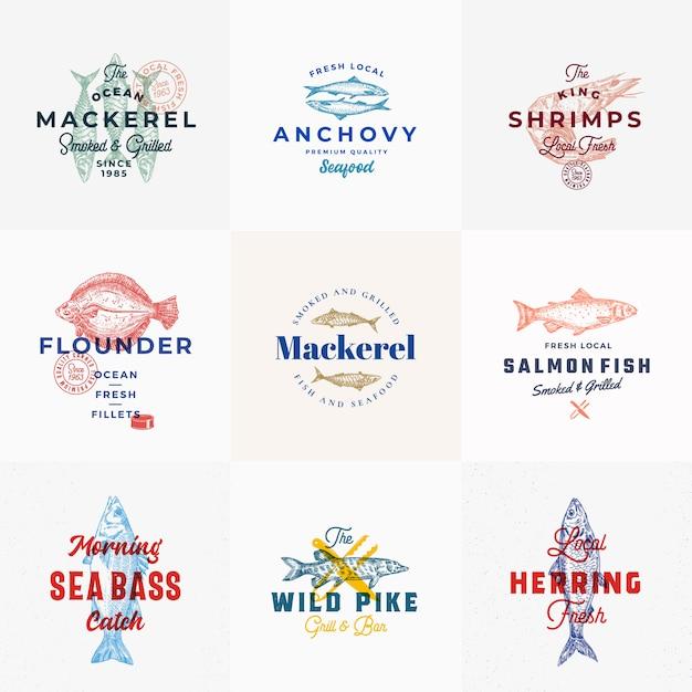 Modelo de logotipo de frutos do mar premium com peixes de mão desenhada Vetor Premium