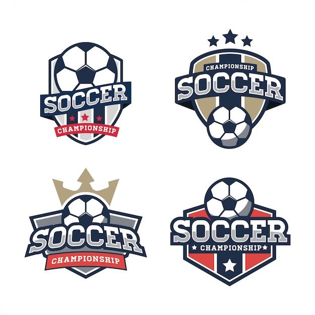 Modelo de logotipo de futebol Vetor Premium