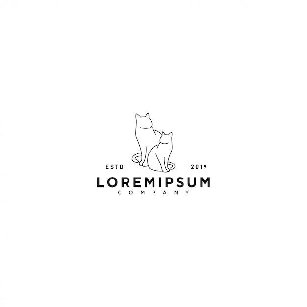Modelo de logotipo de gato Vetor Premium