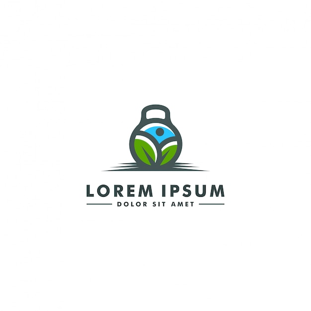 Modelo de logotipo de ginásio de fitness. ícone de barra Vetor Premium