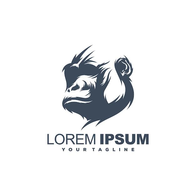 Modelo de logotipo de gorila incrível Vetor Premium