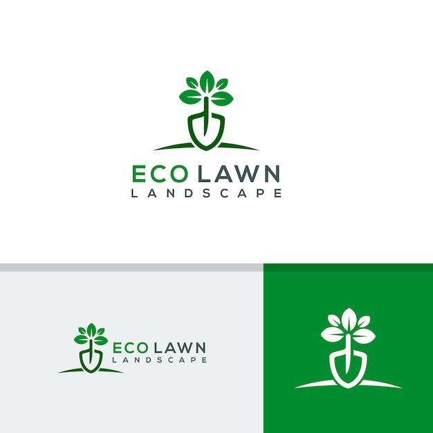 Modelo de logotipo de gramado ecológico Vetor Premium