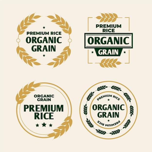 Modelo de logotipo de grãos orgânicos de arroz Vetor Premium
