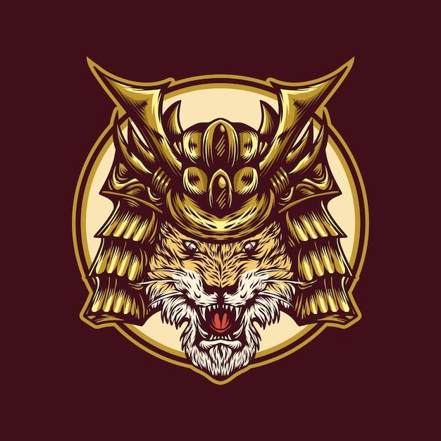 Modelo de logotipo de guerreiro tigre Vetor Premium