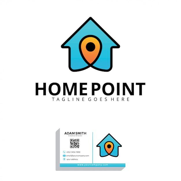 Modelo de logotipo de home point Vetor Premium