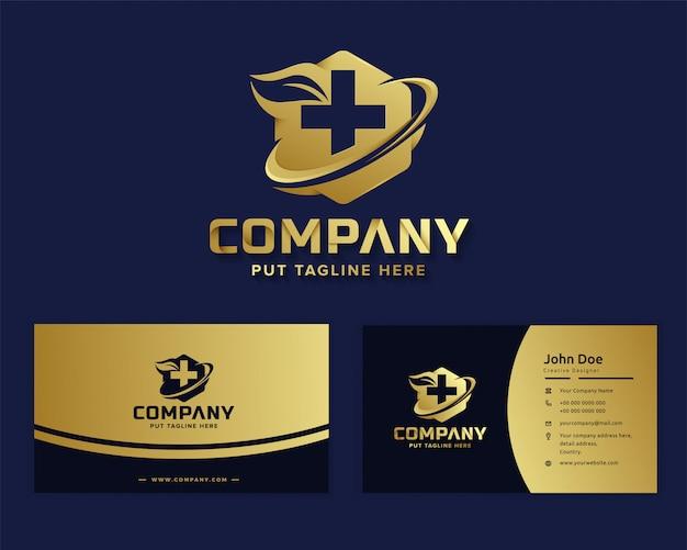 Modelo de logotipo de hospital médico de luxo premium para empresa Vetor Premium