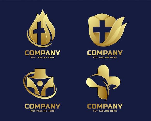 Modelo de logotipo de hospital médico de ouro premium Vetor Premium