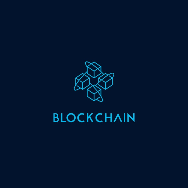 Modelo de logotipo de ícone de cadeia de bloco Vetor Premium