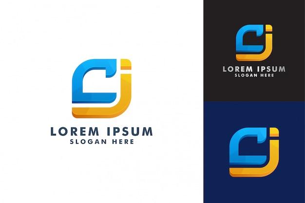 Modelo de logotipo de letra c e j Vetor Premium