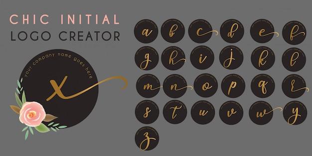 Modelo de logotipo de letra inicial floral chique Vetor Premium