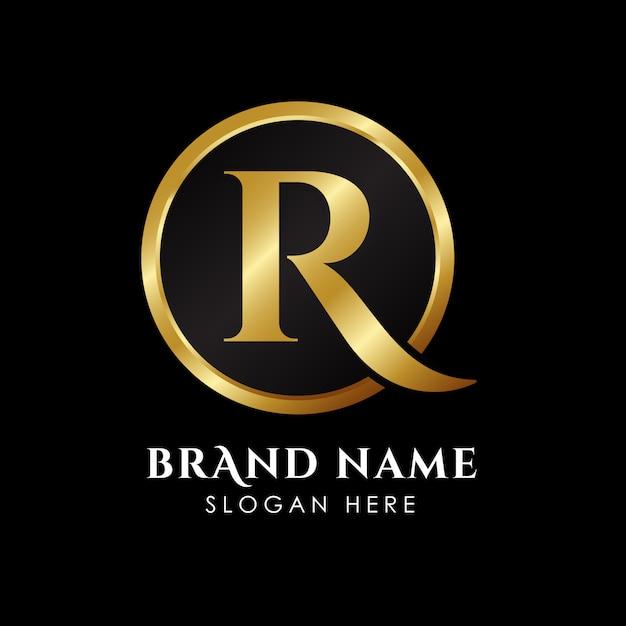Modelo de logotipo de letra r luxo na cor do ouro Vetor Premium
