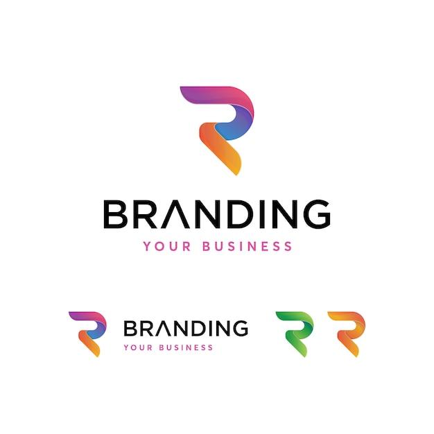 Modelo de logotipo de letra r Vetor Premium