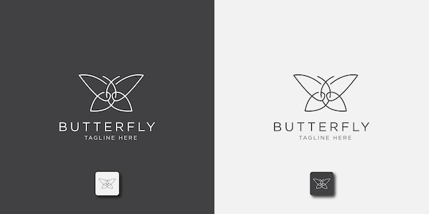 Modelo de logotipo de linha borboleta Vetor Premium