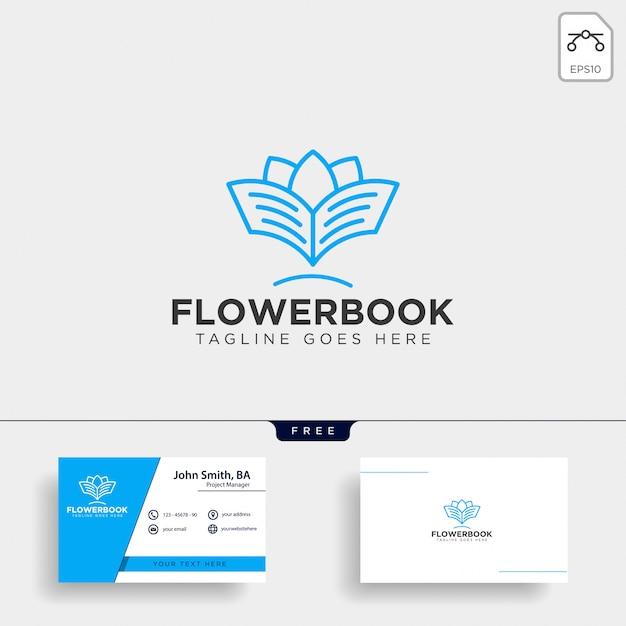 Modelo de logotipo de linha de educação de árvore, planta e flor livro Vetor Premium