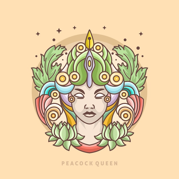 Modelo de logotipo de linha rainha pavão Vetor Premium