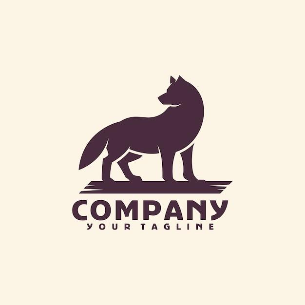 Modelo de logotipo de lobo Vetor Premium