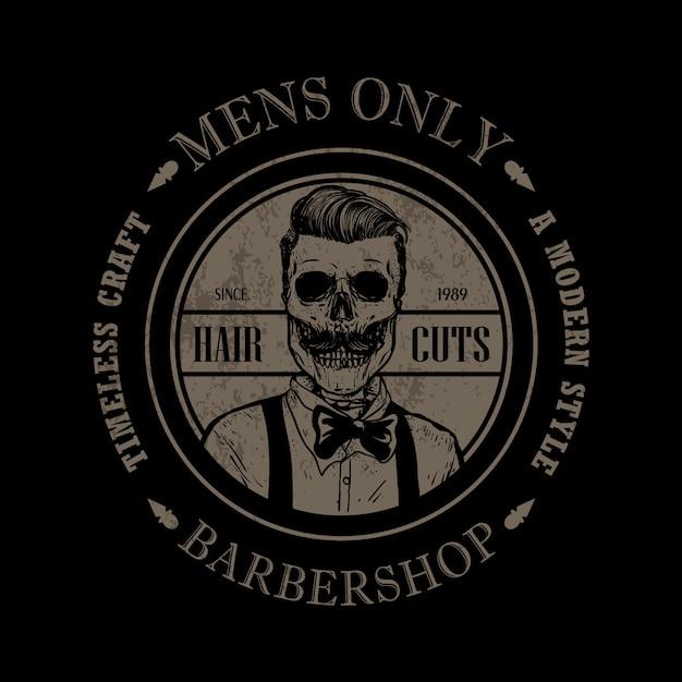 Modelo de logotipo de loja de barbeiro Vetor Premium