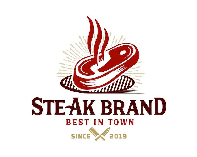 Modelo de logotipo de loja de carnes Vetor Premium