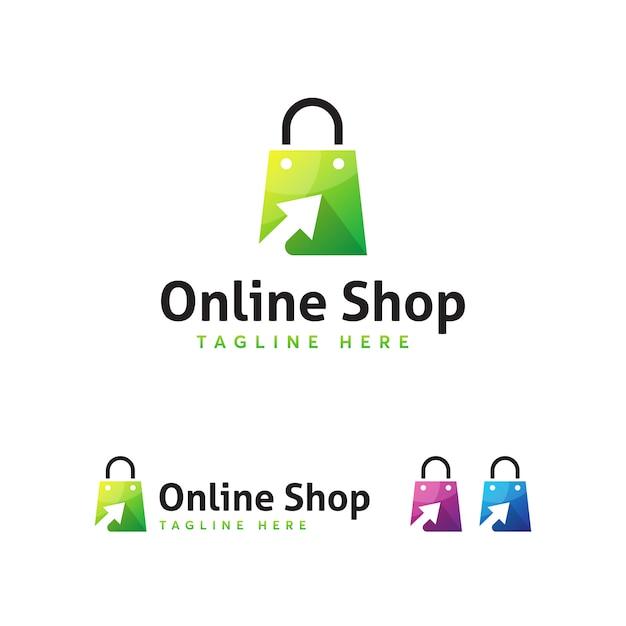 Modelo de logotipo de loja onlone Vetor Premium