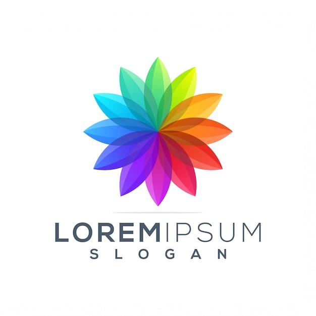 Modelo de logotipo de lótus colorido Vetor Premium
