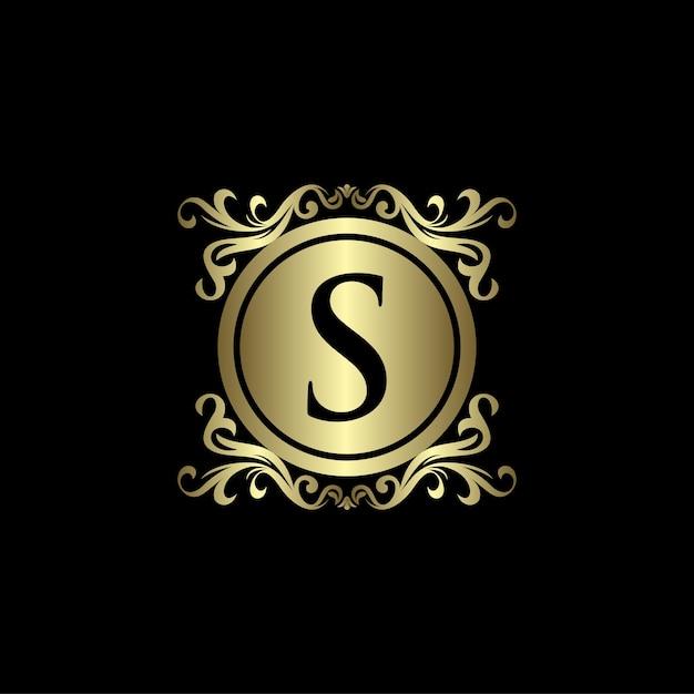Modelo de logotipo de luxo com letra s dourada Vetor Premium
